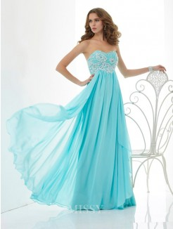 A-Line Sweetheart Chiffon Beading Sleeveless Floor-Length Dress