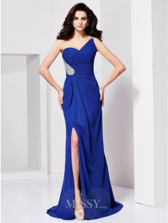 A-Line Sleeveless Beading One-shoulder Pleats Sweep/Brush Train Dress