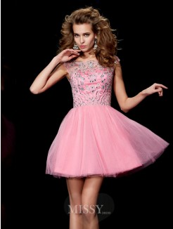 A-Line Bateau Sleeveless Beading Mini Satin Dress