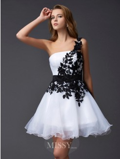 A-Line Sleeveless One-Shoulder Mini Organza Dress