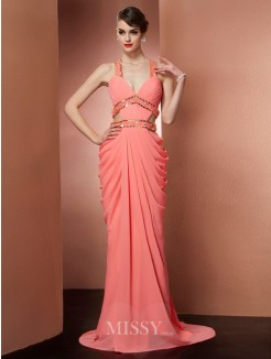 Sheath Straps Sleeveless Beading Floor-length Chiffon Dress