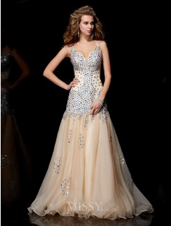 Sheath V-neck Sleeveless Beading Organza Floor-Length Dress