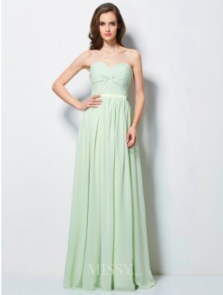 A-Line Sweetheart Sleeveless Ruffles Floor-length Chiffon Dress