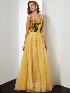 Ball Gown Sweetheart Sleeveless Sequin Floor-Length Organza Dress