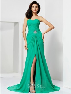 Sweetheart Sheath Chiffon Sleeveless Beading Sweep/Brush Train Dress