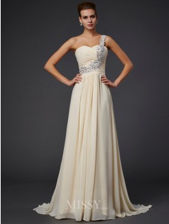 A-Line Sleeveless One-Shoulder Beading Applique Floor-Length Chiffon Dress