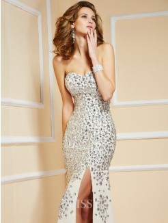 Sweetheart Sheath Sweep/Brush Train Beading Chiffon Sleeveless Dress