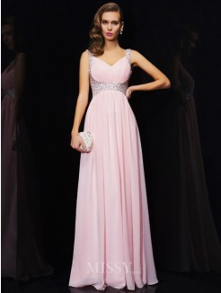 A-Line Chiffon Straps V-neck Beading Floor-Length Dress