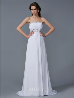 A-Line Strapless Sleeveless Chiffon Sweep/Brush Train Beading Dress