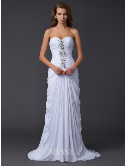 Sheath Strapless Sweetheart Chiffon Beading Sweep/Brush Train Dress