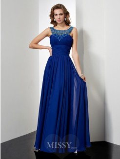 Empire High Neck Sleeveless Chiffon Beading Floor-length Dress