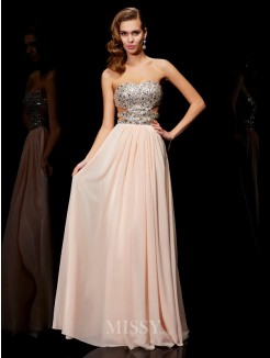A-Line Sleeveless Rhinestone Sweetheart Floor-Length Chiffon Dress