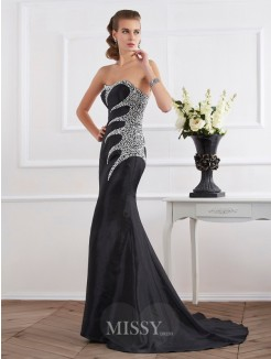 Mermaid Taffeta Strapless Sweetheart Floor-Length Beading Dress