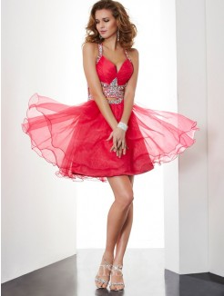 A-Line Sleeveless Halter Beading Mini Organza Dress