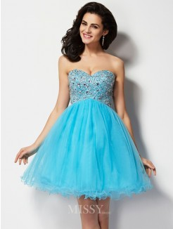 Beading A-Line Sweetheart Sleeveless Mini Dress
