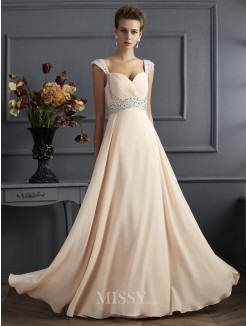A-Line Straps Sleeveless Beading Chiffon Floor-Length Dress