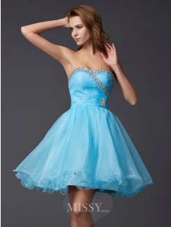 A-Line Sleeveless Sweetheart Beading Mini Tulle Dress