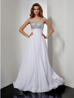A-Line V-neck Rhinestone Sleeveless Floor-length Chiffon Dress