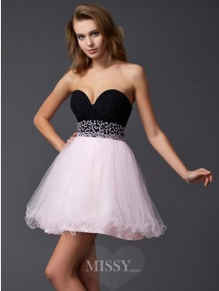 A-Line Sweetheart Mini Beading Sleeveless Elastic Woven Satin Dress