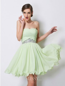 A-Line Sweetheart Sleeveless Beading Chiffon Mini Dress