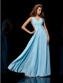 A-Line Straps Sleeveless Applique Beading Floor-Length Chiffon Dress