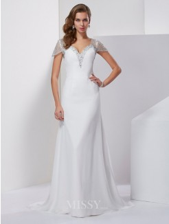 A-Line Sweetheart Short Sleeves Beading Chiffon Sweep/Brush Train Dress