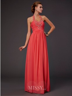 A-Line Floor-Length Halter Hand-Made Flower Beading Chiffon Dress