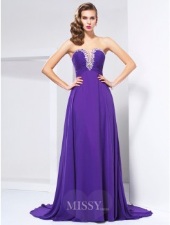 A-Line Sweep/Brush Train Chiffon Beading Sweetheart Sleeveless Dress
