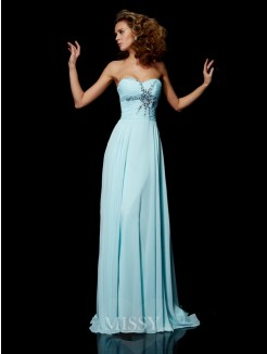 Sheath Beading Sweetheart Sleeveless Chiffon Sweep/Brush Train Dress