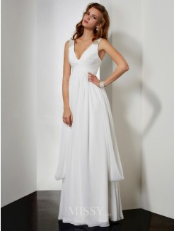A-Line Sleeveless V-neck Beading Floor-length Chiffon Dress