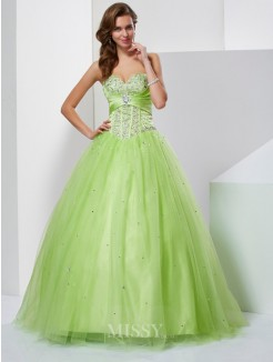 Ball Gown Sweetheart Beading Sleeveless Floor-Length Tulle Dress