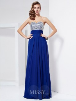 Sheath Floor-Length Sweetheart Sleeveless Rhinestone Chiffon Dress