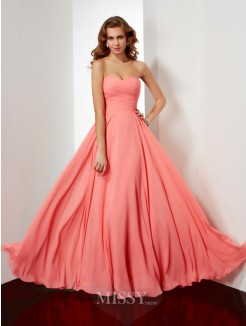 A-Line Floor-Length Sweetheart Pleating Chiffon Dress