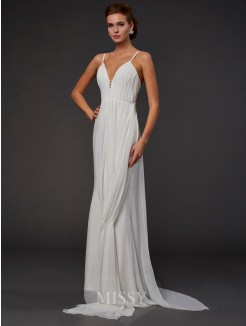 Trumpet Mermaid Ruffles V-neck Sleeveless Floor-length Chiffon Dress