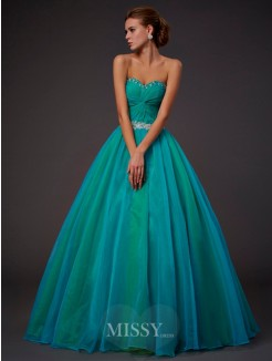 Ball Gown Sleeveless Sweetheart Beading Pleats Floor-length Tulle Dress