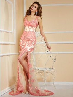 Sheath Sleeveless Applique Lace Sweetheart Asymmetrical Dress