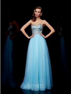 Ball Gown Sweetheart Beading Floor-Length Sleeveless Tulle Dress