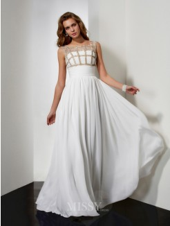 A-Line Floor-Length Straps Sleeveless Beading Chiffon Dress