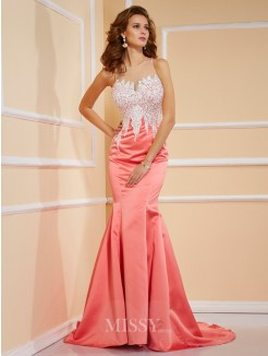 Sweetheart Sheath Sleeveless Beading Satin Sweep/Brush Train Dress