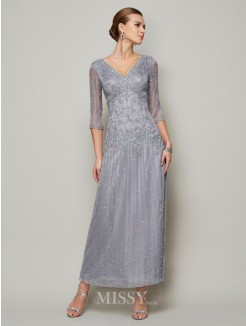Sheath V-neck 1/2 Sleeves Beading Ankle Elastic Woven Satin Mother of the Bride Dress
