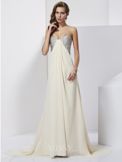 Sheath Chiffon Rhinestone Sweetheart Sleeveless Sweep/Brush Train Dress