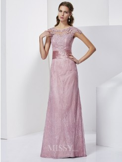 Sheath Short Sleeves Floor-Length Elastic Woven Satin Mother of the Bride Dress