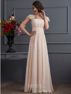 A-Line Square Short Sleeves Floor-Length Chiffon Dress With Lace