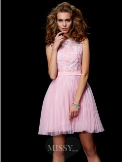A-Line Scoop Beading Mini Elastic Woven Satin Dress