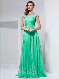 A-Line High Neck Beading Floor-Length Chiffon Dress