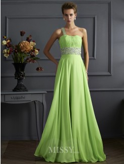 A-Line One-Shoulder Sleeveless Floor-Length Beading Chiffon Dress