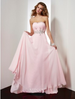 Beading A-Line Sweetheart Applique Sleeveless Sweep/Brush Train Chiffon Dress