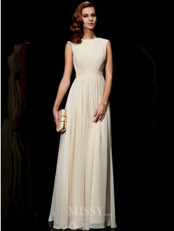A-Line Jewel Chiffon Sleeveless Beading Floor-Length Dress