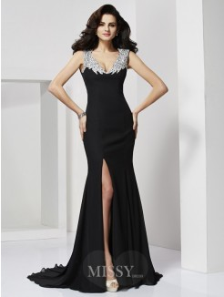 Beading A-Line Floor-Length Straps Sleeveless Chiffon Dress