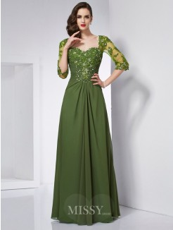 A-Line Sweetheart 3/4 Sleeves Beading Applique Chiffon Floor-Length Dress